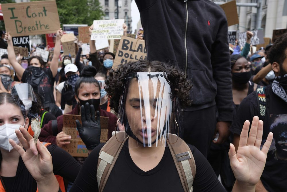 Protesters gather at Foley Square in New York on Tuesday in a demonstration against police brutality sparked by the death of George Floyd.