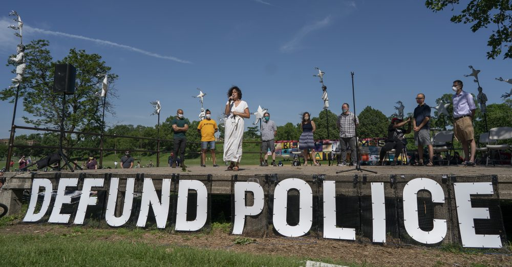 "Alondra Cano, a Minneapolis City Council member, speaks during ""The Path Forward"" meeting at Powderhorn Park on Sunday. The focus of the meeting was the defunding of the police department, a move Cano supports."