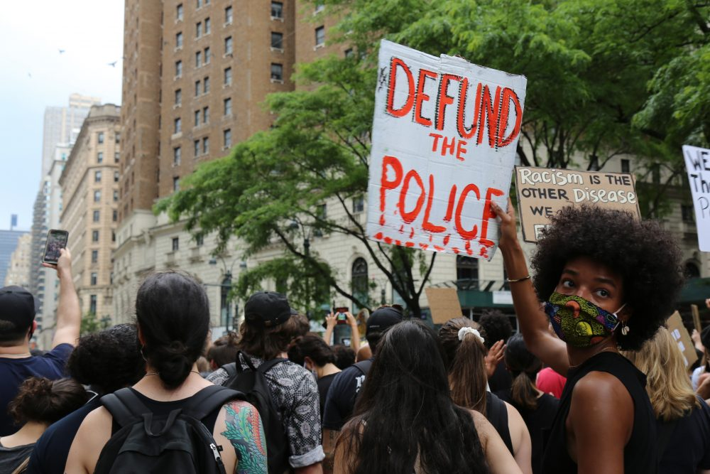 Protesters march Saturday in New York. Demonstrations continue across the United States in protest of racism and police brutality, sparked by the May 25 death of George Floyd in police custody in Minneapolis.