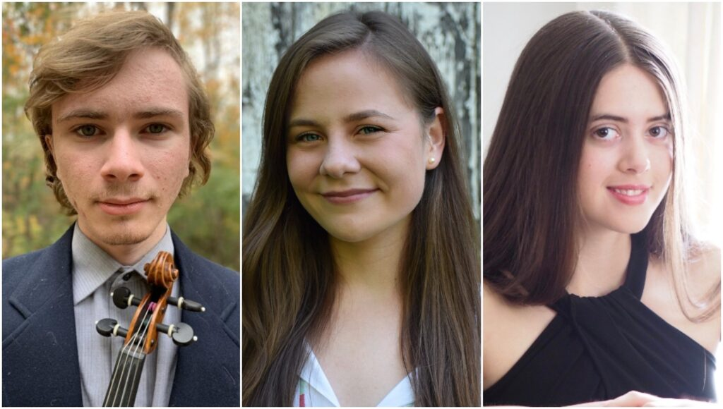 Bay Chamber Concerts and Music School in Rockport announces its 2020 Young Stars of Maine Prizewinners. The local winners from left are Joshua Rosenthal, Kayleigh Tolley and Inga Zimba.