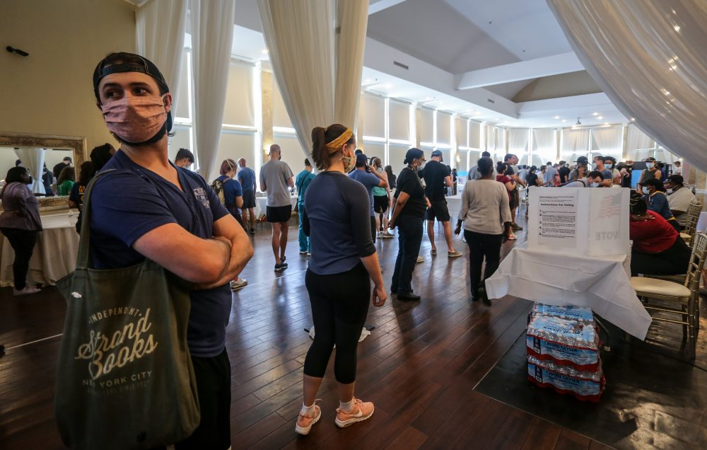 Voters wait in line to cast their ballots in the Georgia's primary election at a polling place Tuesday in Atlanta, Ga. Some voting machines went dark and voters were left standing in long lines in humid weather as the waiting game played out.