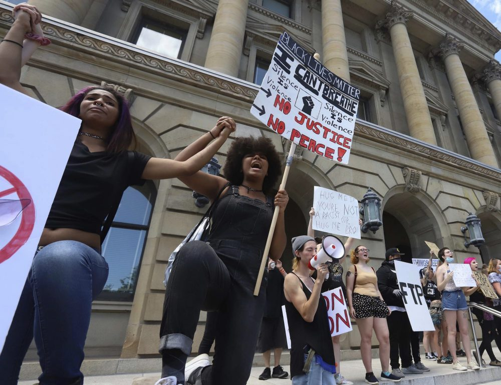 Black Lives Matter supporters rally June 7 on the steps of the Luzerne County Courthouse in Wilkes-Barre, Pa. Far from the industrial north's urban centers, hundreds of protests over black injustice have cropped up in small cities in rural areas.