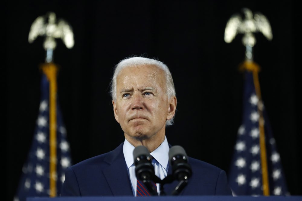 Democratic presidential candidate, former Vice President Joe Biden pauses while speaking during a June 25 event in Lancaster, Pa.