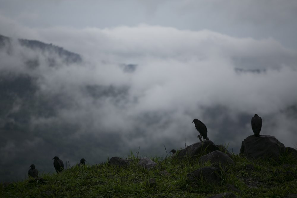 Rain clouds hover over mountains during tropical storm Amanda in Barberena, eastern Guatemala, on May 31.