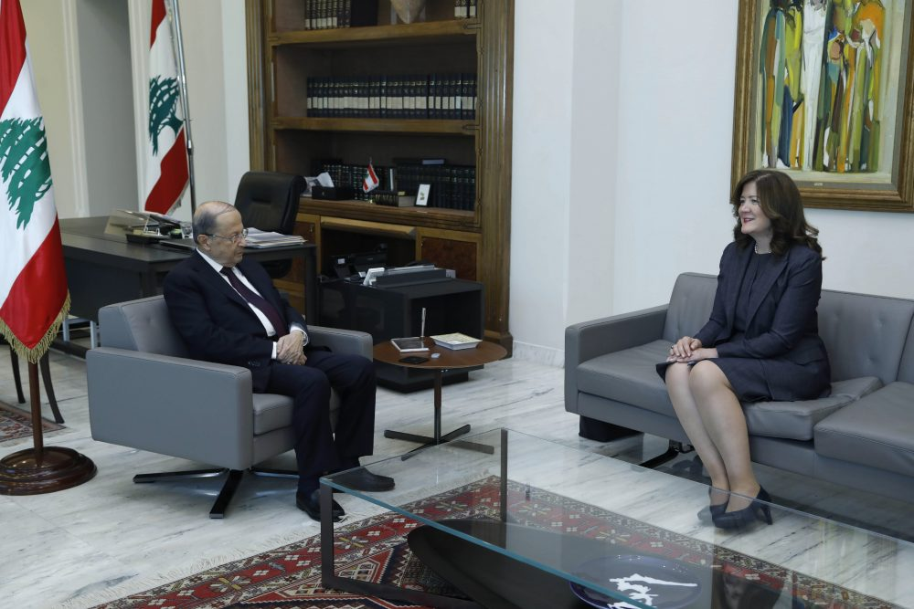 President Michel Aoun meets with U.S. Ambassador to Lebanon Dorothy Shea this month at the Presidential Palace in Baabda, east of Beirut.