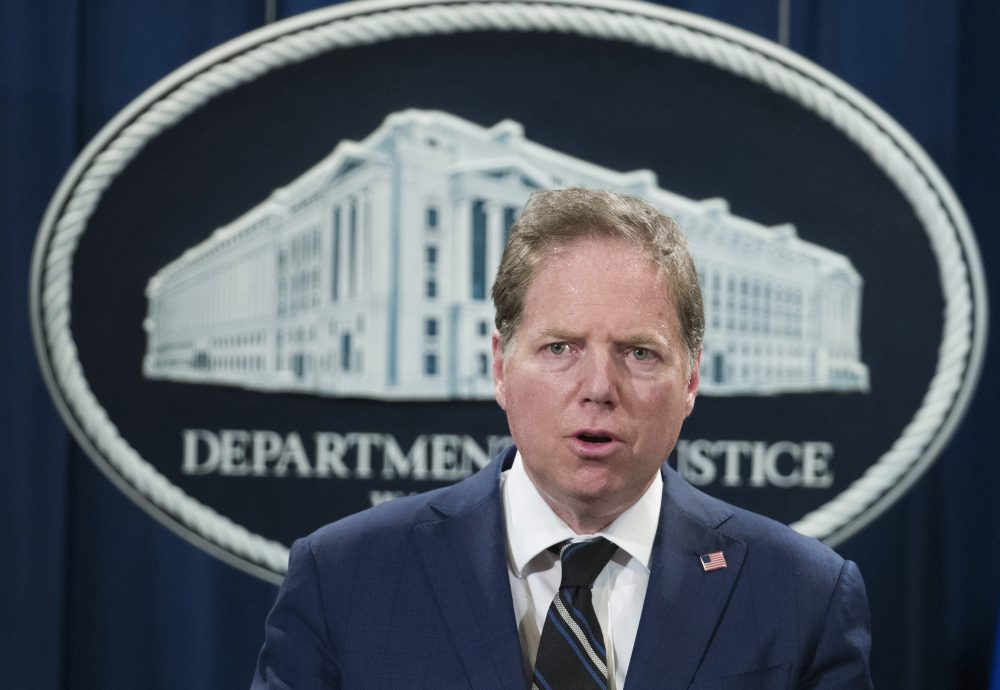 Geoffrey Berman, U.S. attorney for the Southern District of New York, speaks during a news conference at the Department of Justice in 2018. The Justice Department moved abruptly Friday to oust Berman, the U.S. attorney in Manhattan overseeing key prosecutions of President Trump's allies and an investigation of his personal lawyer Rudy Giuliani. But Berman said he was refusing to leave his post and his ongoing investigations would continue.