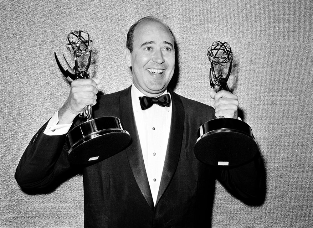 "Carl Reiner shows holds two Emmy statuettes presented to him as best comedy writer for the ""Dick Van Dyke Show,"" during the annual Emmy Awards presentation in Los Angeles in 1963. Reiner, the ingenious and versatile writer, actor and director who broke through as a ""second banana"" to Sid Caesar and rose to comedy's front ranks as creator of ""The Dick Van Dyke Show"" and straight man to Mel Brooks' ""2000 Year Old Man,"" has died at the age of 98."