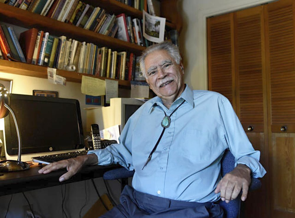 """Author Rudolfo Anaya at his home writing studio in New Mexico in 2016. """"Bless Me, Ultima,"""" was made into a film in 2013, and an opera is planned."""