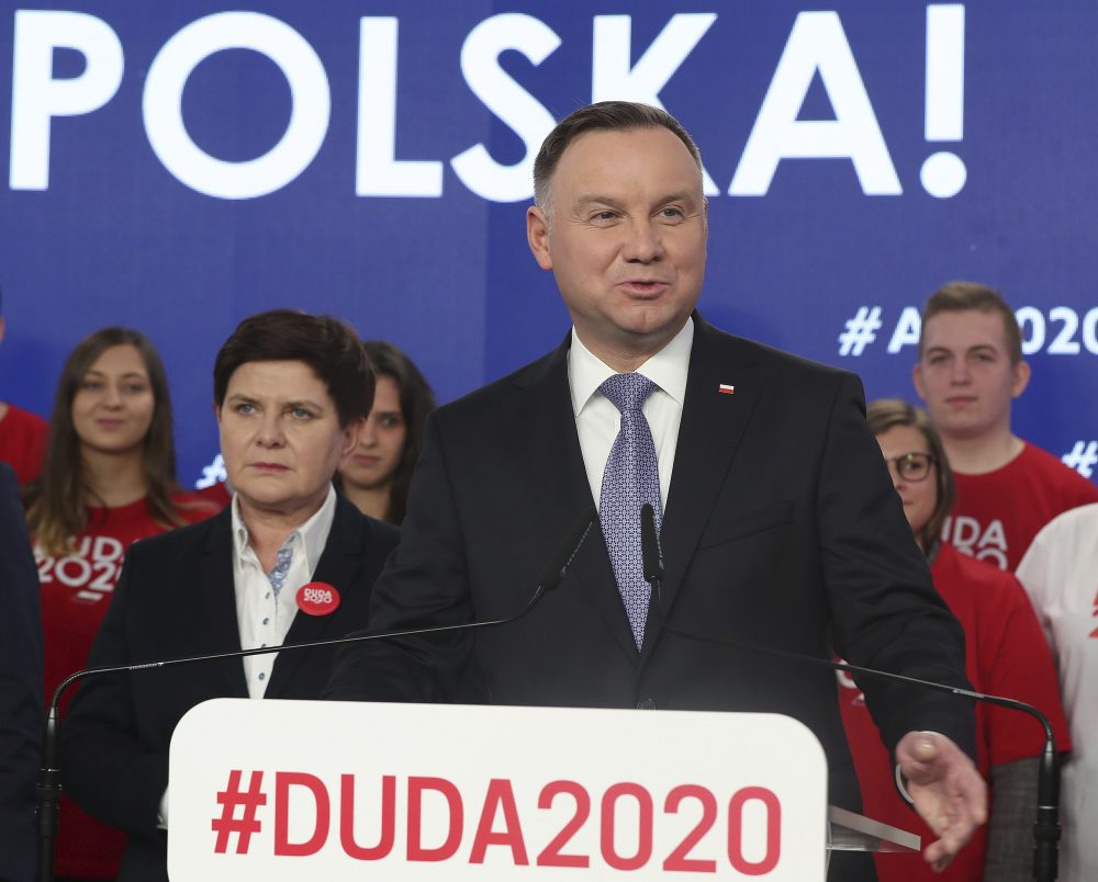 Poland's President Andrzej Duda campaigns Feb. 19 for his re-election in Warsaw.