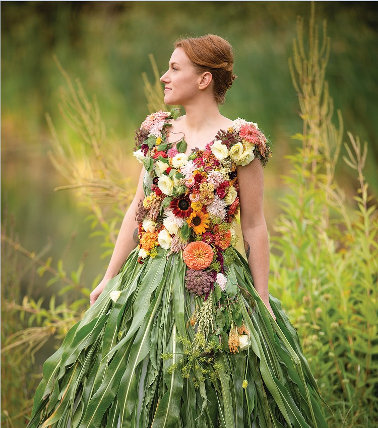 This dress, designed by Rayne Grace Hoke of Flora's Muse in Biddeford, was featured in last year's American Flowers Week. Hoke says she was inspired by the incredible variety of annuals, herbs, grasses and foliage.