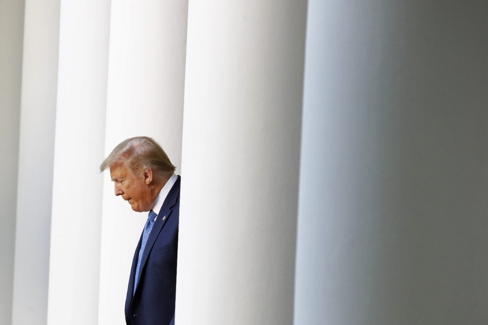 President Trump arrives to speak in the Rose Garden of the White House in Washington on June 1. Instead of addressing the nation about the unrest following George Floyd's death, the president has focused on organized leftist protesters and tried to make the case that disaster awaits if the nation turns its back on him in November.