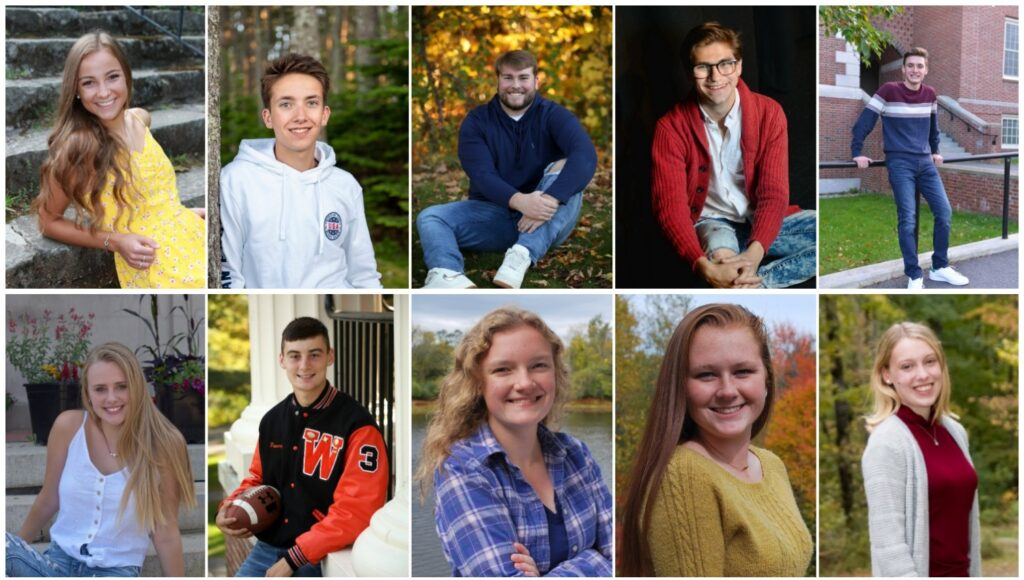 Winslow High School has announced its top 10 seniors for the class of 2020. Top from left are Katie Doughty, Brennan Dunton, Cameron Goodwin, Aaron Harmon and Jacob Huesers. Bottom from left are Justice Picard, Colby Pomeroy, Carrie Selwood, Grace Smith and Katherine Stevens.