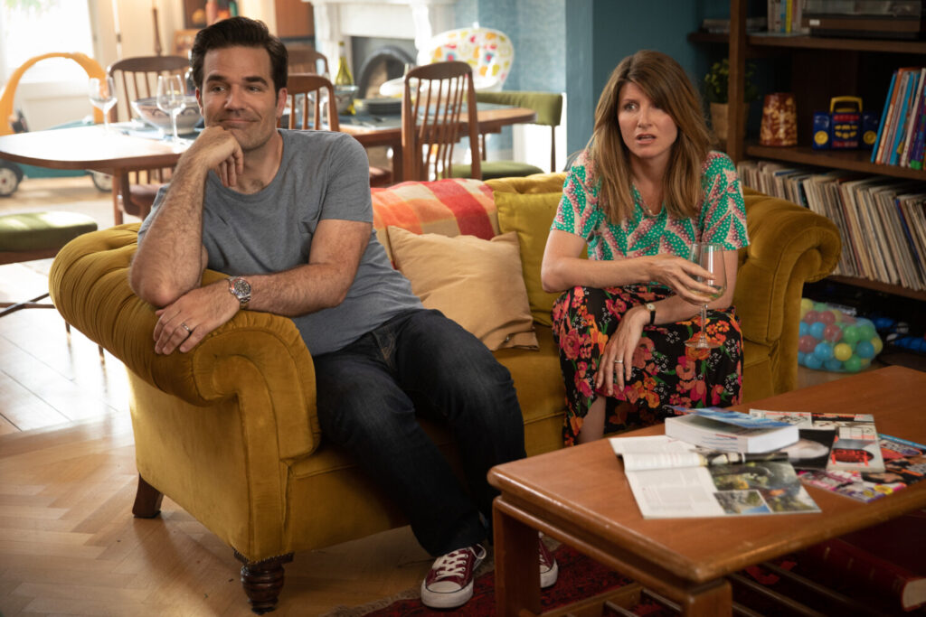 "Rob Delaney, left and Sharon Horgan in a scene from ""Catastrophe."""