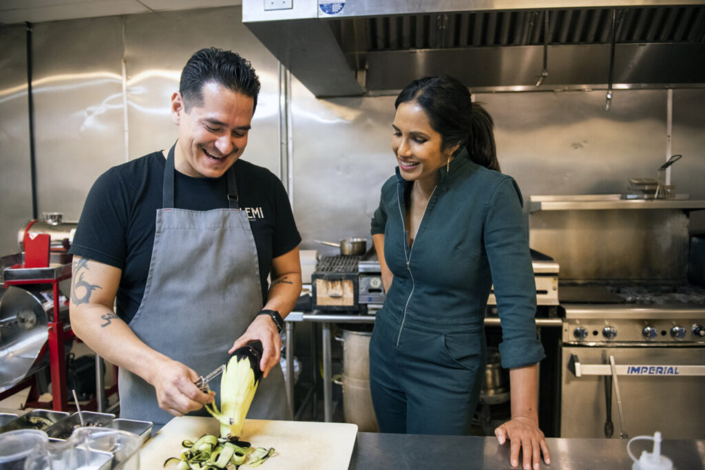 "In the debut episode of ""Taste the Nation,"" Lakshmi cooks with Emiliano Marentes, the first-generation Mexican American owner of Elemi restaurant in El Paso."