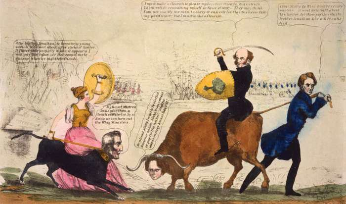 Satirical political cartoon published in New York about the  Maine-New Brunswick border conflict in 1839 known as the Aroostook War. Martin Van Buren sits on an ox and confronts a dog with the head of the Duke of Wellington that is being ridden by Queen Victoria.