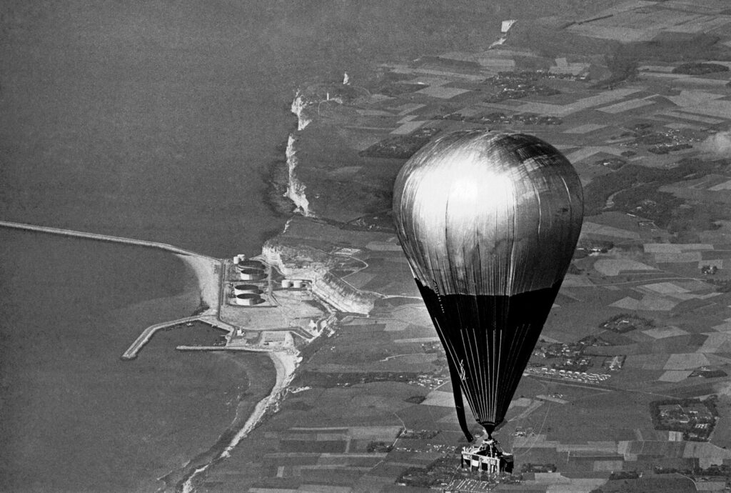 The balloon Double Eagle II crosses the French Coast near Le Havre, Aug. 17, 1978 near the end of its trans-Atlantic flight. Maxie Anderson, Ben Abruzzo and Larry Newman, all from Albuquerque, N.M. left from Presque Isle to complete the first successful crossing of the Atlantic Ocean by balloon.