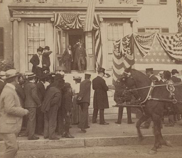 Theordore Roosevelt emerges from the house of James Blaine in Augusta during his 1902 visit to Maine.