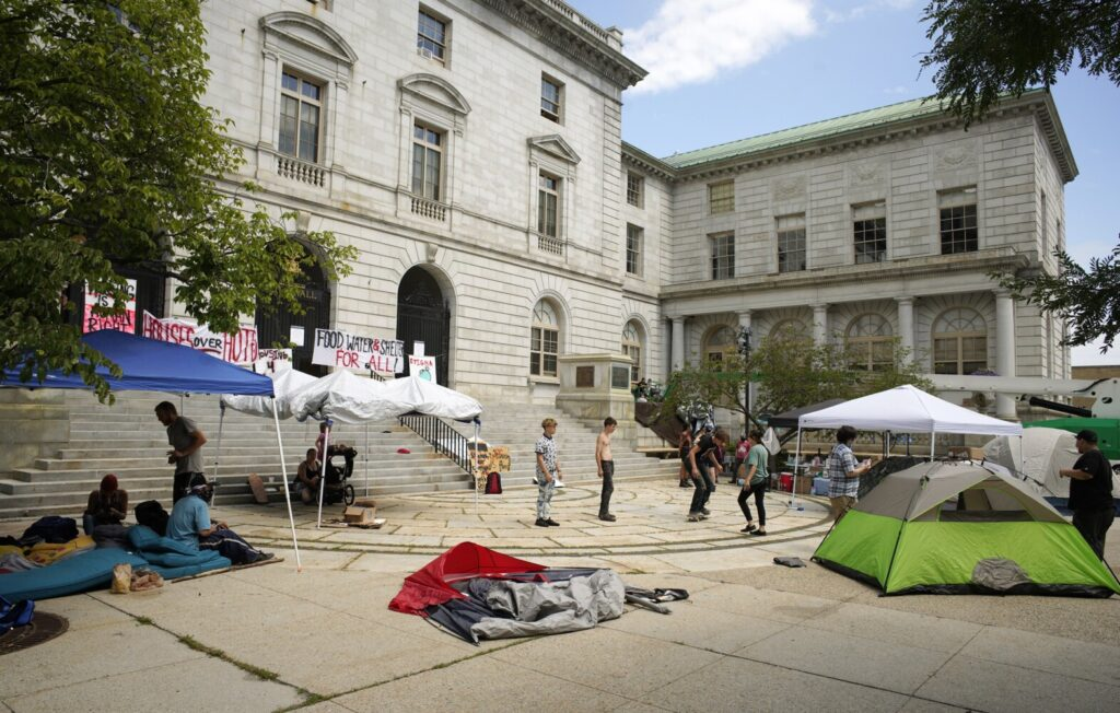 "A ""sleep-out"" protest at Portland City Hall, intended to draw attention to the lack of safe, affordable housing in Portland, continued into its second day on Thursday."