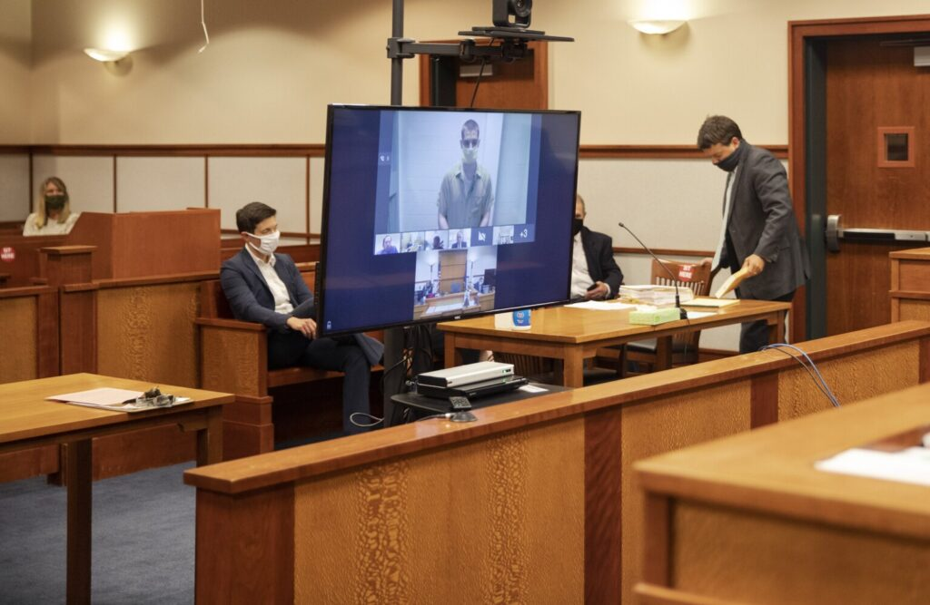 Quinton Hanna appears via video from jail for his arraignment hearing at the Cumberland County Courthouse on Thursday. Hanna entered a plea of not criminally responsible and not guilty for the charges of murder, attempted murder, elevated aggravated assault and alluding an officer. The lawyers, judge and Hanna all attended the arraignment using a video conferencing platform.