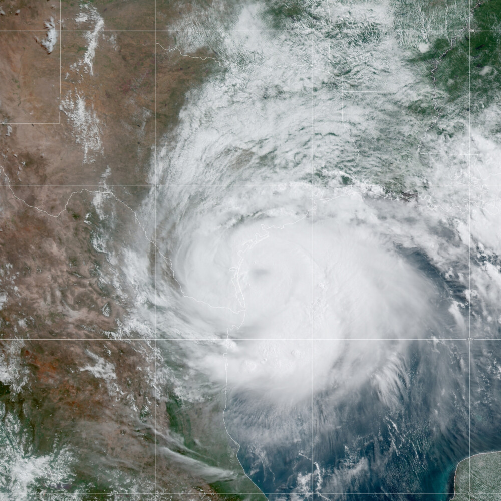This satellite image made available by the National Oceanic and Atmospheric Administration shows Hurricane Hanna approaching Texas on Saturday.