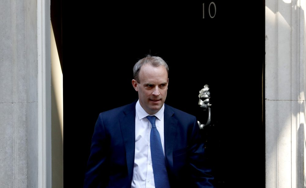 Britain's Foreign Secretary Dominic Raab announced Monday that he has suspend the extradition treaty and extend an arms embargo to Hong Kong that has applied to mainland China since 1989.