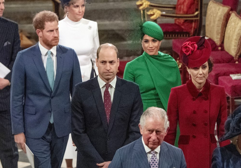 From left, Britain's Prince Harry, Prince William, Meghan Duchess of Sussex and Kate, Duchess of Cambridge leave the annual Commonwealth Service at Westminster Abbey in London on March 9, 2020.