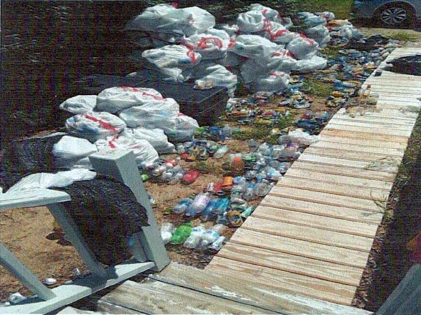 Caretakers collected hundreds of cans and bottles left behind by visitors to Pleasant Point Park in Buxton the weekend before last.