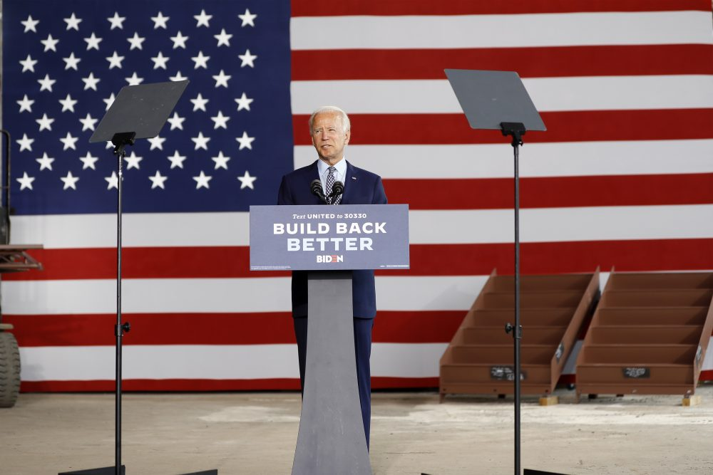 Democratic presidential candidate former Vice President Joe Biden speaks Thursday at McGregor Industries in Dunmore, Pa.