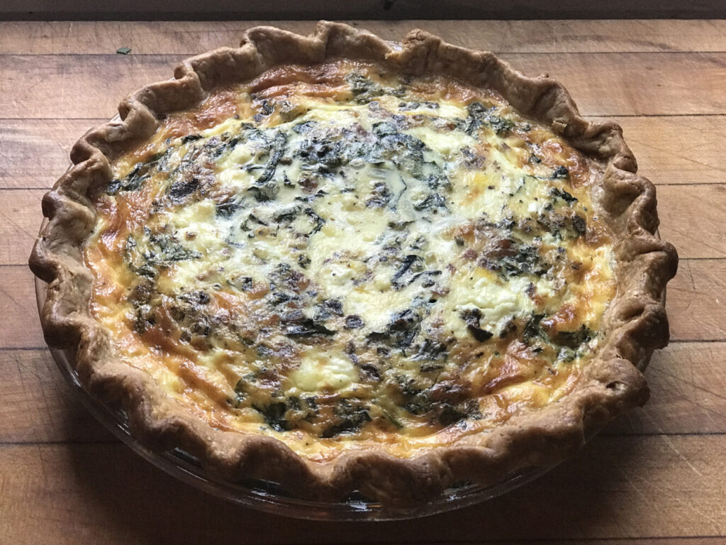 Bacon, Swiss Chard and Goat Cheese Quiche