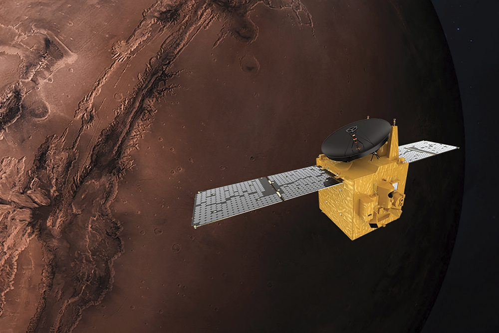 A rendering of the UAE's Hope probe. The orbiter is scheduled to rocket away from Japan on Wednesday and, if successful, will arrive on Mars sometime in February.