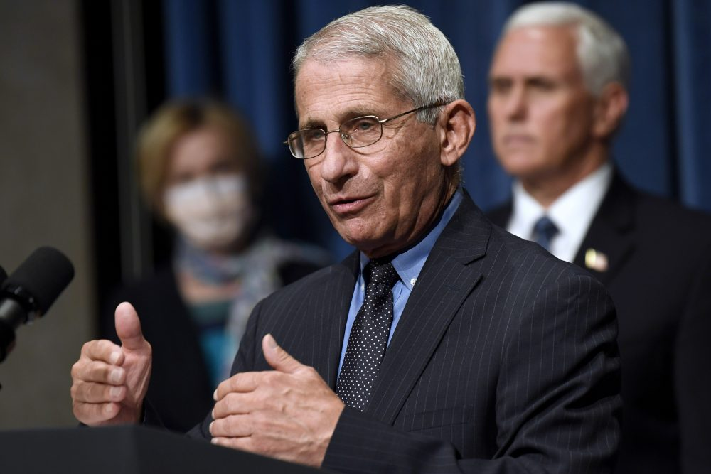 Director of the National Institute of Allergy and Infectious Diseases Dr. Anthony Fauci, center, speaks as Vice President Mike Pence, right, and Dr. Deborah Birx, White House coronavirus response coordinator, left, listen June 26 during a news conference with members of the coronavirus task force at the Department of Health and Human Services in Washington.