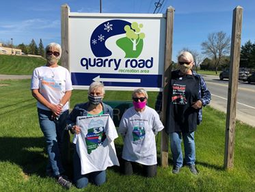 Waterville Food Bank walk team helped raise more than $40,000 during the Maine State Credit Union's Feed ME 5K Virtual Walk. From left are Jane Bird, Beth Thomas, Emily Atkinson and Julie Auterio.