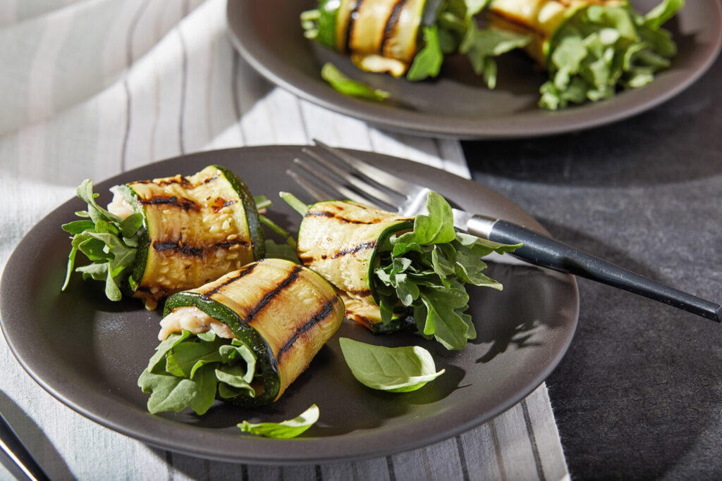 Grilled Zucchini Roll-Ups with White Beans and Arugula