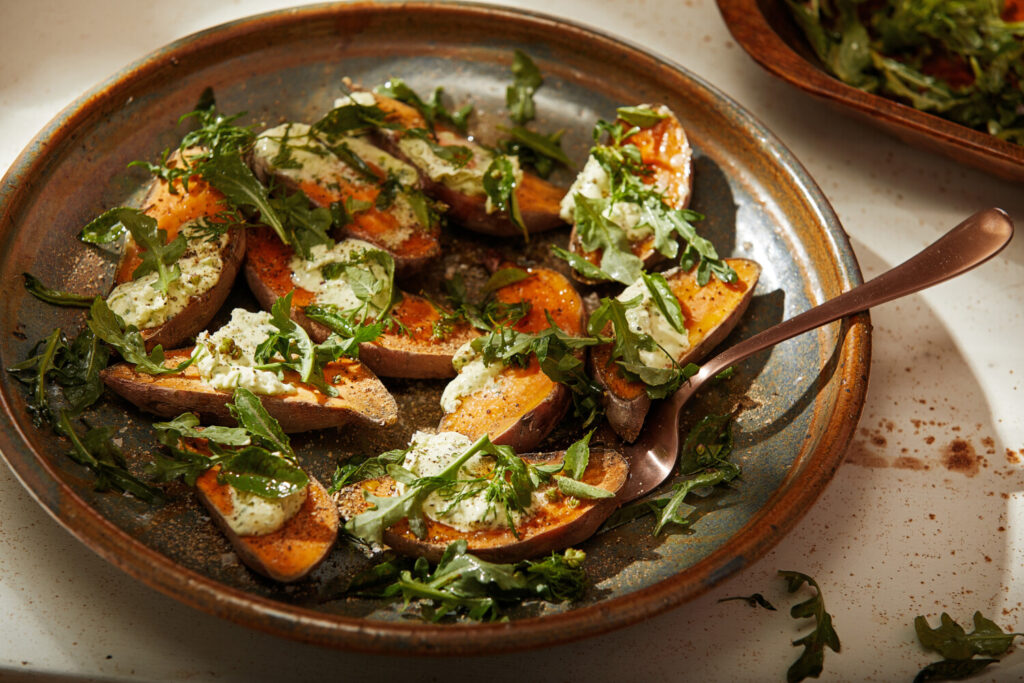 Roasted Sweet Potatoes with Collard Butter