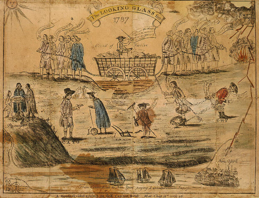 """A satiric drawing on the conflicting issues before the ratification of the U.S. Constitution in Connecticut. One of the 'antifederals' on the right cries """"Success to Shays"""" showing that they sympathized with agrarian radicals led by Daniel Shay in Massachusetts."""