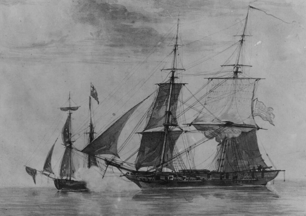 Painting of the battle between the USS Enterprise and HMS Boxer off coast of Maine, September 5, 1813.