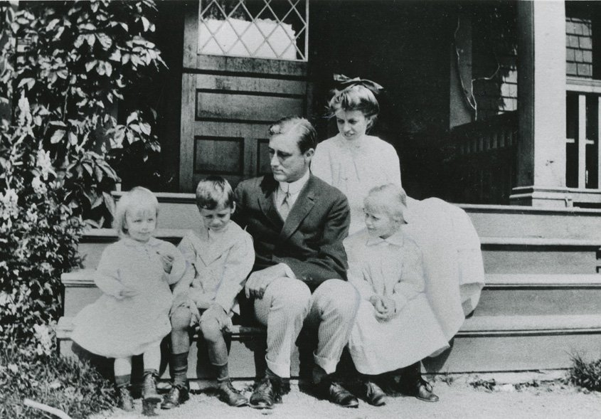 Franklin and Eleanor Roosevelt with three of their children at Campobello in 1912.