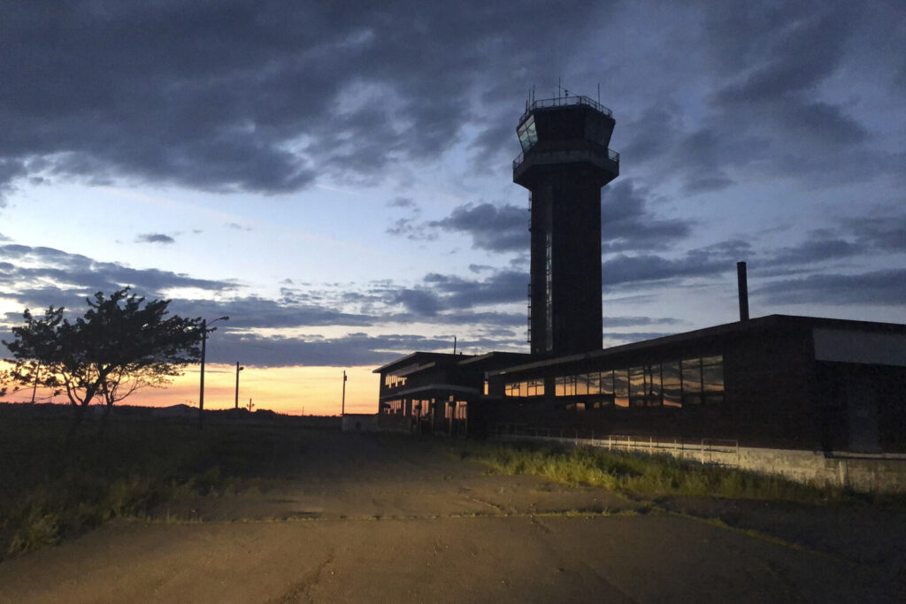 The control tower of the former Loring Air Force Base in July 2020. The base, once home to B-52 bombers, was closed in 1994 as part of a Defense Department effort to cut costs.