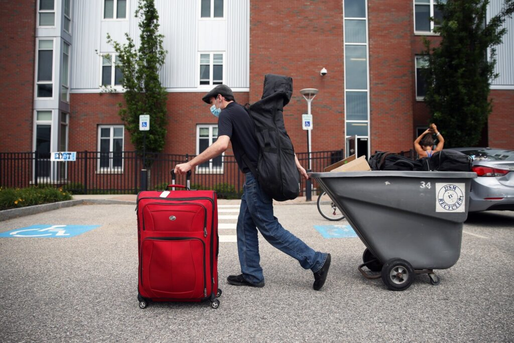 USM junior Kalob  Richardson of Athens moves back to the University of Southern Maine campus on Aug. 25, 2020.