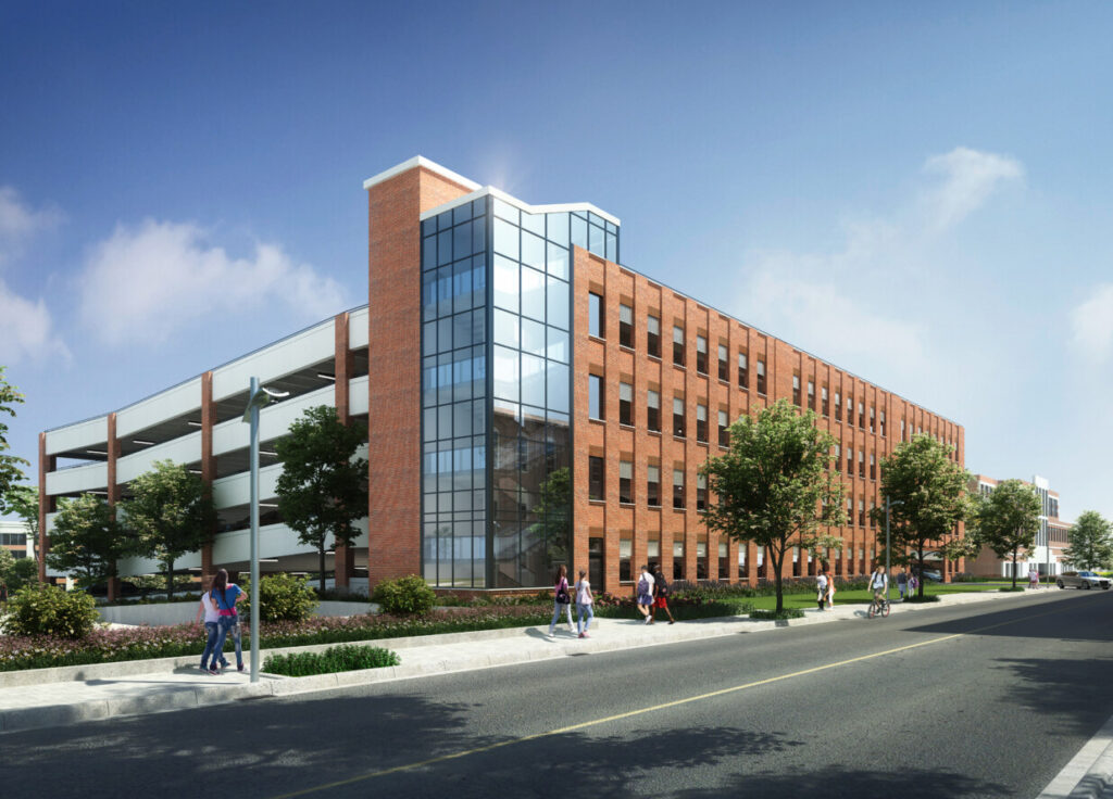A rendering of the future parking garage in downtown Biddeford, being built as part of the urban RiverWalk project that the city hopes will help reinvigorate its Mill District. Developers broke ground on the project Tuesday.