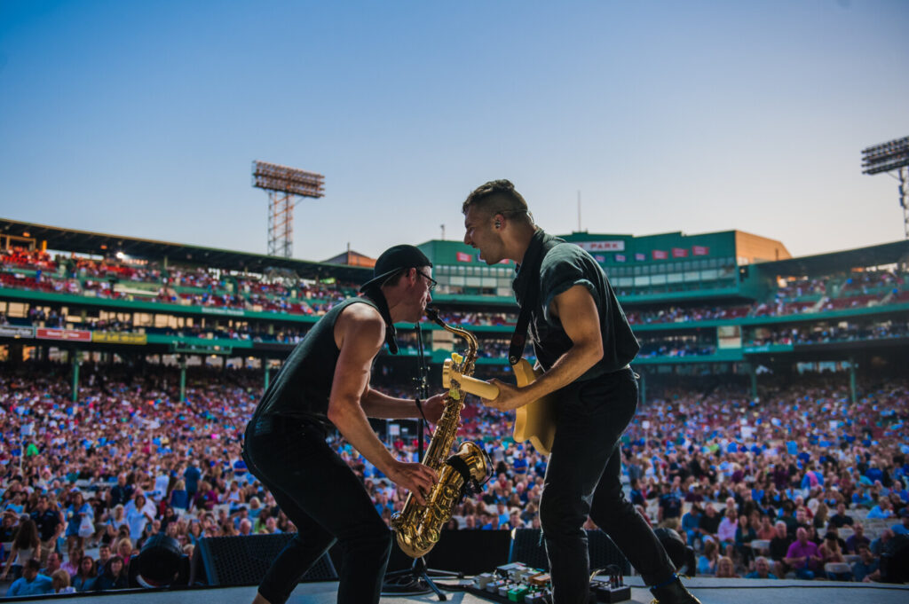 Evan Smith, on saxophone, performing with Bleachers as part of of a 2015 Billy Joel concert Fenway Park in Boston.