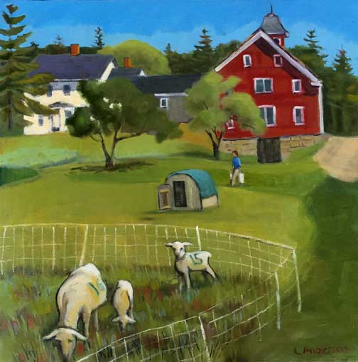 """""""David's Folly Sheep,"""" Leslie Anderson of Sedgwick, oil on panel, 18 by 18 inch."""