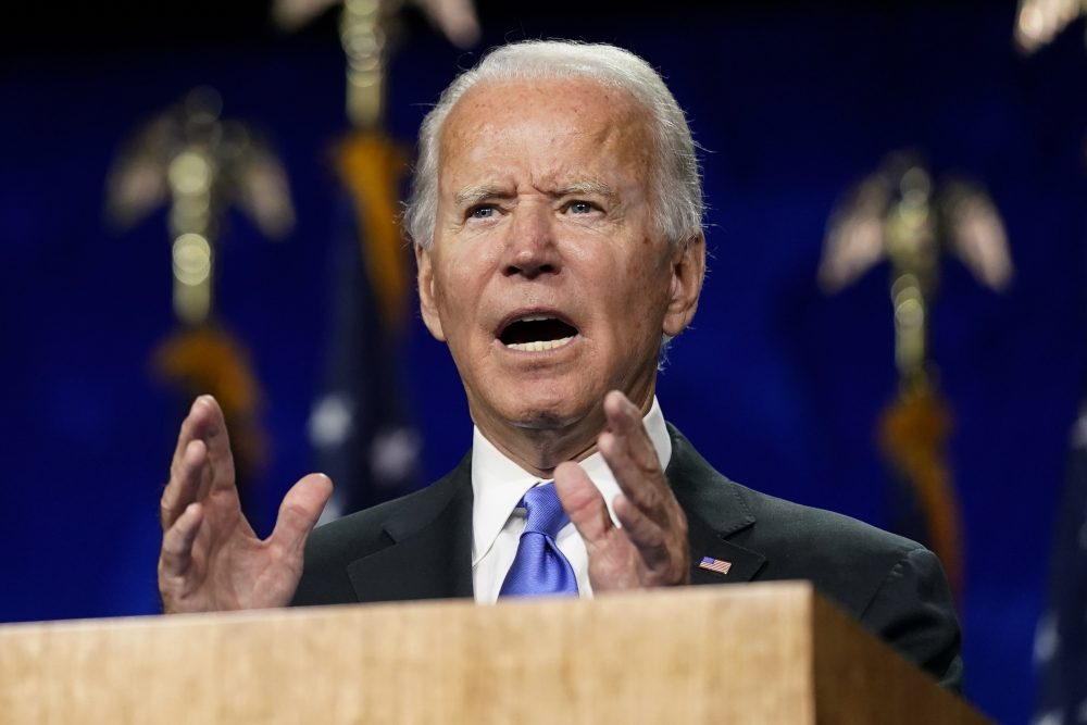 Democratic presidential candidate former Vice President Joe Biden speaks Thursday, during the fourth day of the Democratic National Convention at the Chase Center in Wilmington, Del.