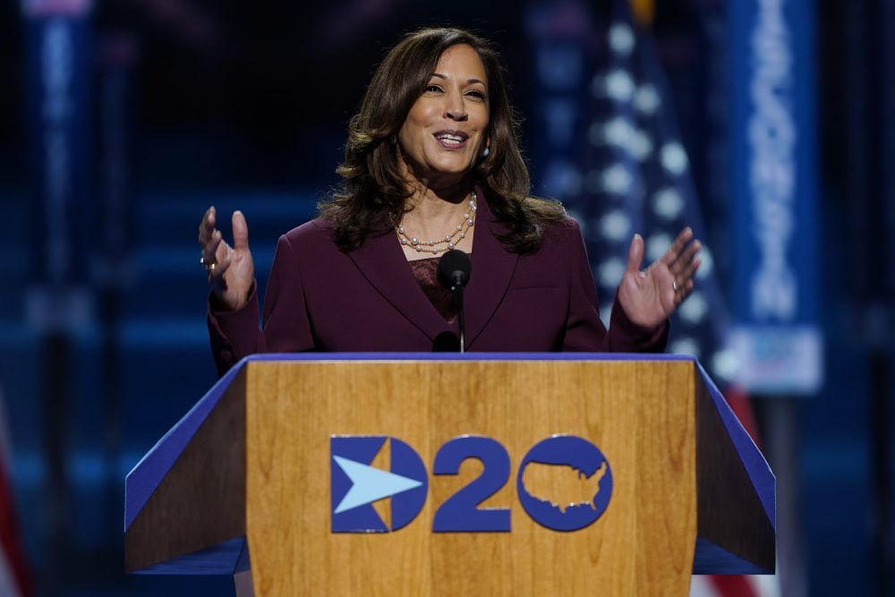 Democratic vice presidential candidate Sen. Kamala Harris, D-Calif., speaks Wednesday, during the third day of the Democratic National Convention at the Chase Center in Wilmington, Del.
