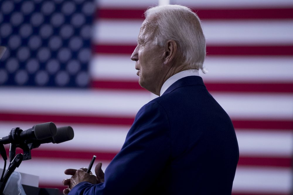 "Democratic presidential candidate and former Vice President Joe Biden speaks at a campaign event at the William ""Hicks"" Anderson Community Center in Wilmington, Del., on Tuesday."