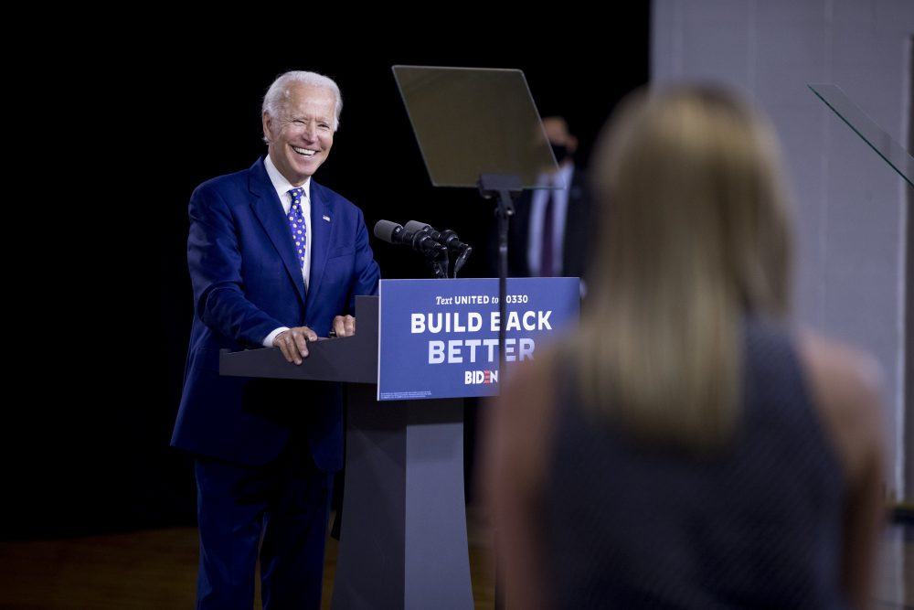 "Democratic presidential candidate and former Vice President Joe Biden  takes a question from a reporter at a campaign event at the William ""Hicks"" Anderson Community Center in Wilmington, Del., on Tuesday."