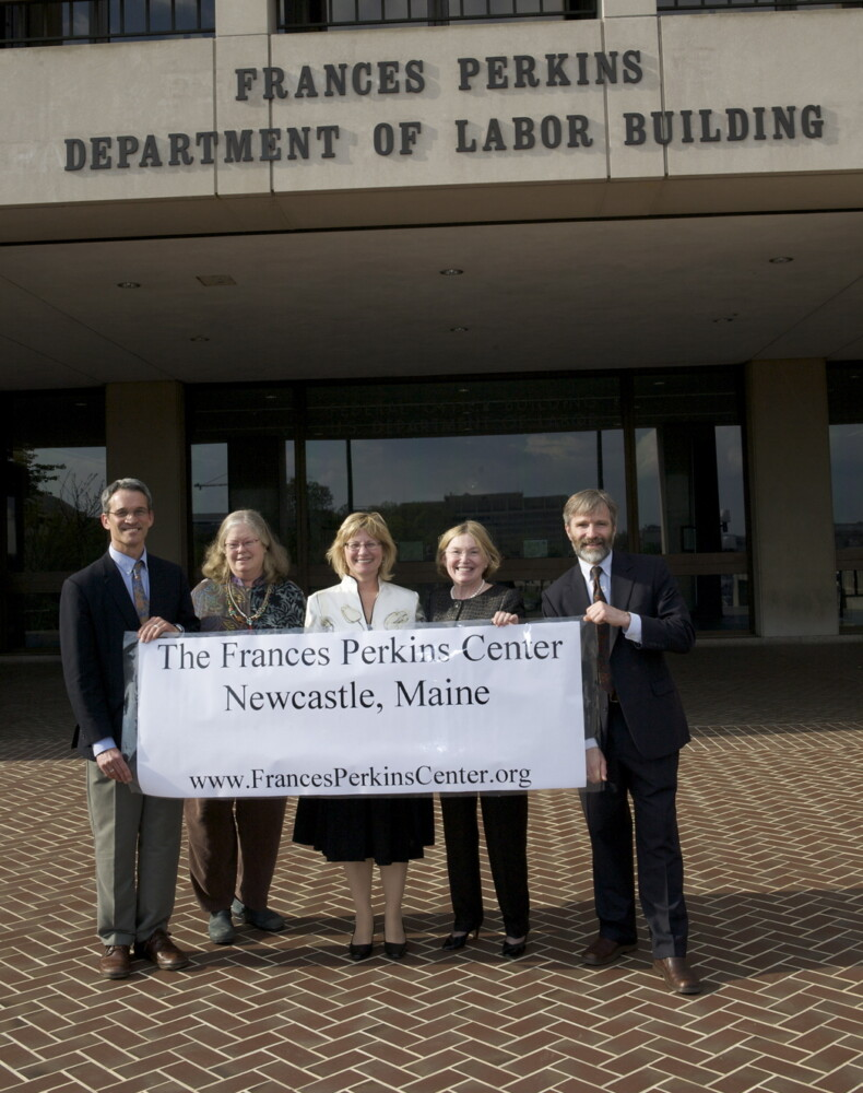Opening dedication of Frances Perkins Center incorporation on Aug. 16, 2009, at the US Dept. of Labor headquarters, the Frances Perkins building, Washington D.C. From left are FPC Board members Christopher Rice; the late Gretel Porter; journalist Kirstin Downey; Elizabeth Allen, and Tomlin Perkins Coggeshall.