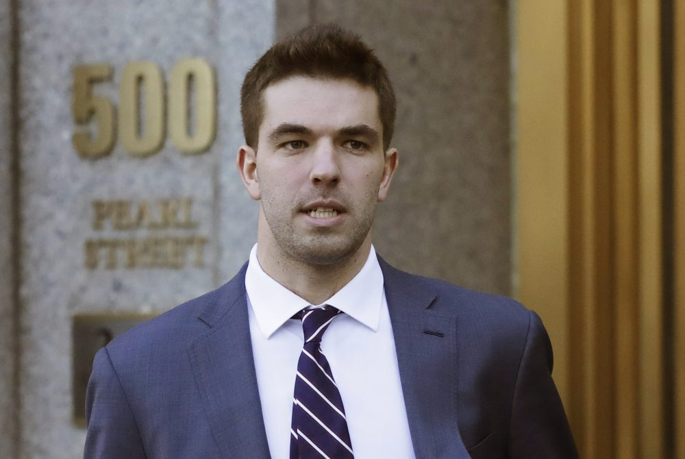 Billy McFarland, the promoter of the failed Fyre Festival in the Bahamas, leaves federal court after pleading guilty to wire fraud charges in New York in 2016.
