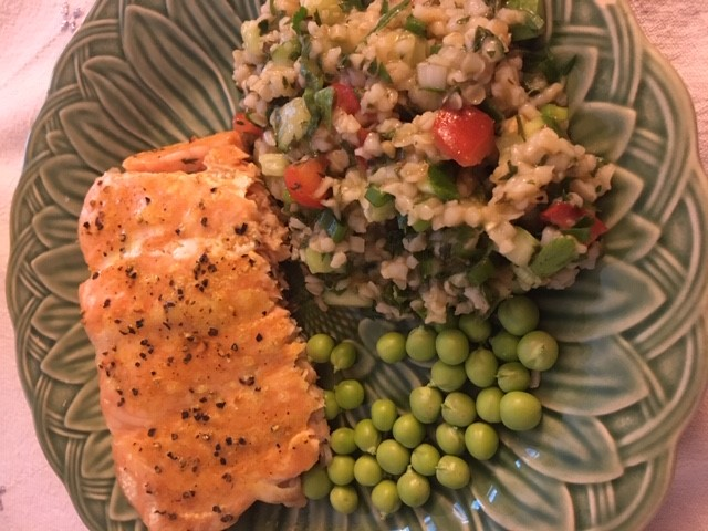 """Salmon, Peas and Tabbouleh. """"What you don't see in the picture was that I drenched that salmon with leftover Hollandaise sauce that needed to be used up,"""" Sara Cromwell wrote. """"I think it may be a crime to have leftover hollandaise, I'm not sure, so it had to go."""""""
