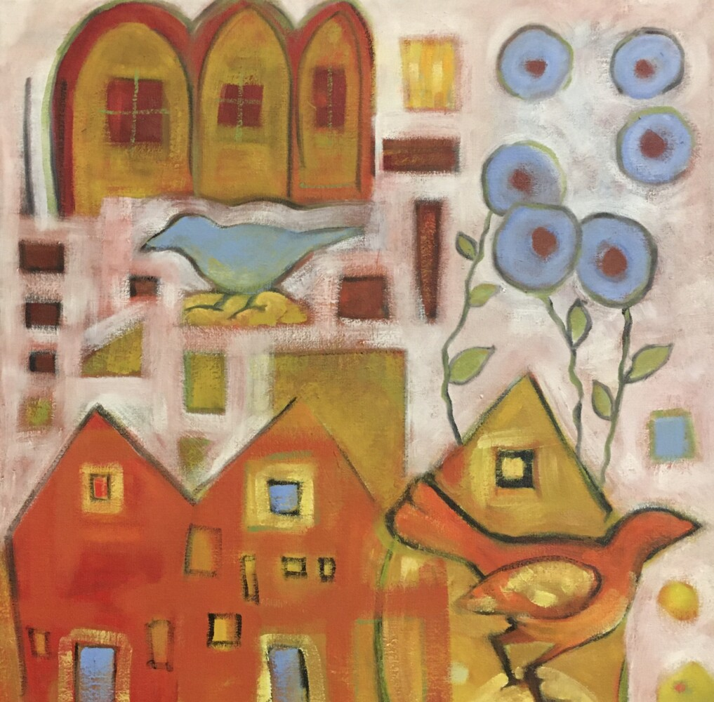 Istanbul by Kate Nordstrom, an oil on canvas, is on display at Carriage House Gardens, Wiscasset. This painting is an example of the complexity of meaning found in her paintings which she hopes will stir the imagination of the viewers.